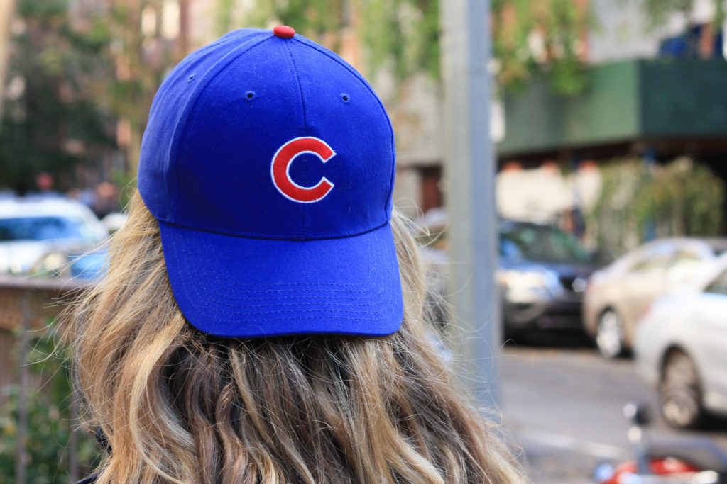 Fashion blogger Diana Pearl of Pearl Girl shares where to buy cute athletic gear for the chicago cubs