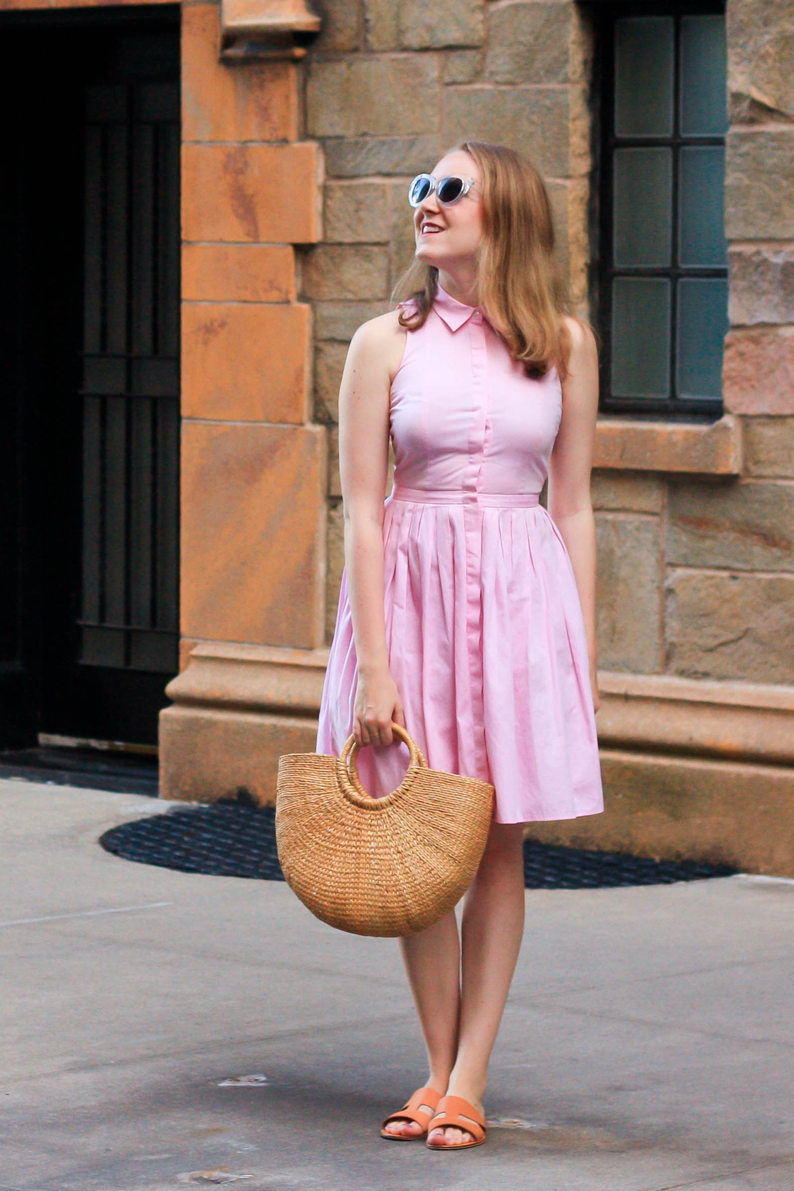 Pink Shirtdress, Everlane Bridge Sandals, Straw Bag and Stain Remover Methods // Pearl Girl